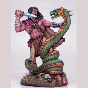 Barbarian Fighting Serpent Monster
