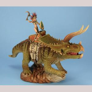 Triceratops with Amazon Rider (Resin/Metal)