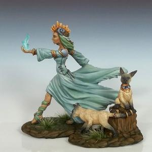 Female Mage with Feral Cats